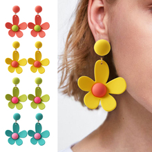 HOCOLE Korean Resin Flower Drop Earrings For Women Cute Geometric Dangle Earring Statement Za 2019 Fashion Female Party Jewelry