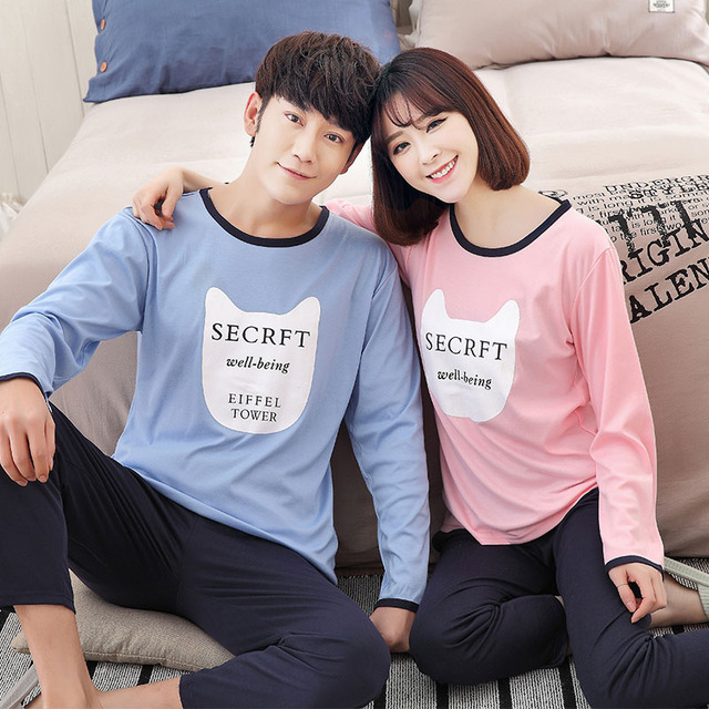 2017 lovers sleepwear 100% cotton lovely adult pajamas casual