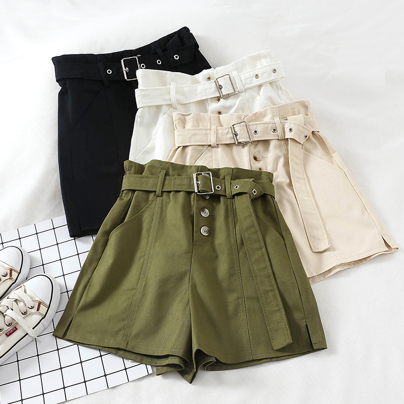 2019 New Summer Casual High Waisted Shorts Women Fashion Sashes Loose Wide Legs Shorts Button Slim Sporting Shorts Female Mw576