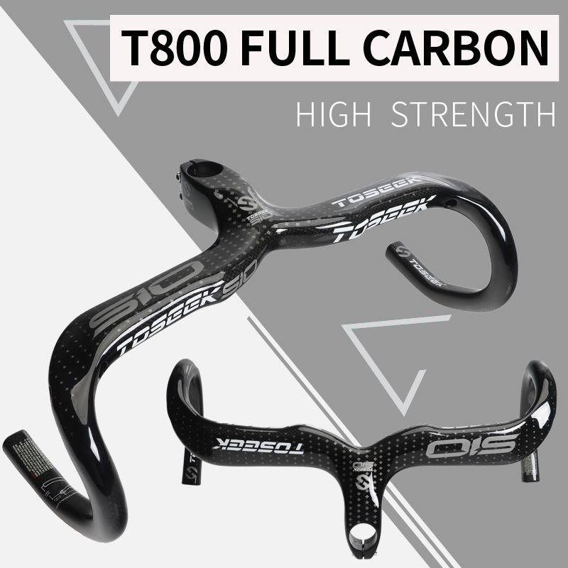 TOSEEK full carbon fiber road bike handlebar bicycle handlebar  integrated bent bar 3K Gloss/matte bike parts black silver nuckily r007 road bike bicycle pu handlebar tape belt wrap black
