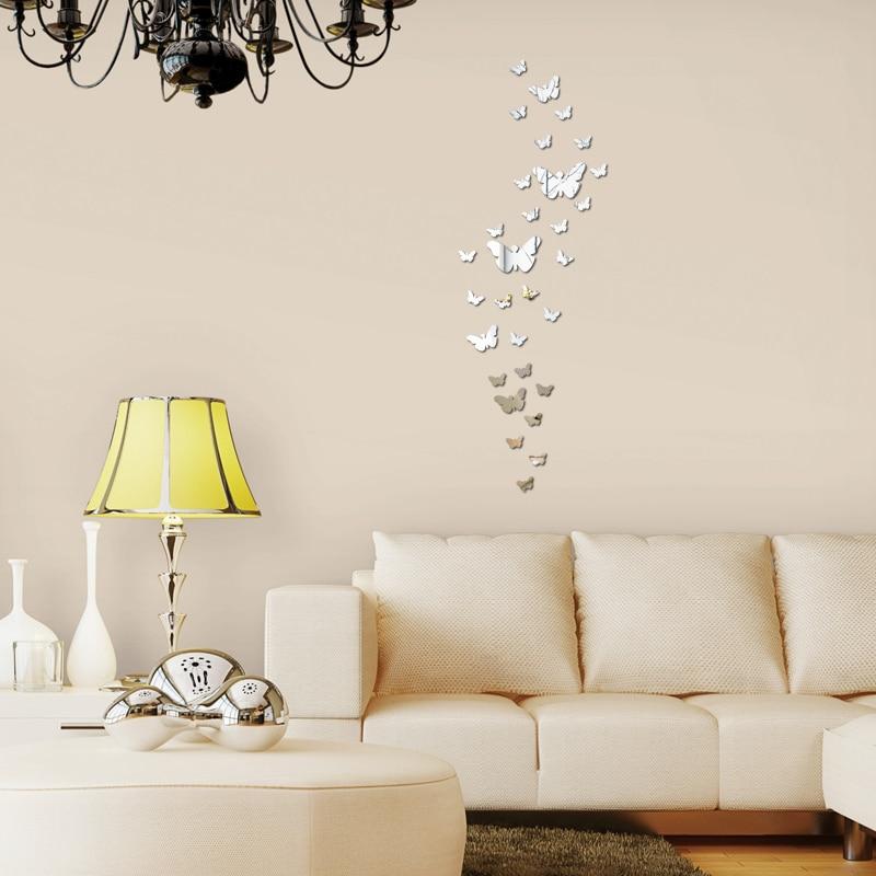 Diy Akrilik ayna duvar sticker kelebek Modern gerçek promosyon ev - Ev Dekoru - Fotoğraf 6