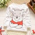 2016 crianças roupas meninas Boyst t-shirt dos desenhos animados suportar t-shirt das crianças camisas de algodão 100% crianças de manga comprida t-shirt camisa F116