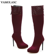 VAMOLASC New Women Autumn Winter Faux Suede Mid Calf Boots Zipper Thin High Heel Boots Pointed Toe Women Shoes Plus Size 34-43