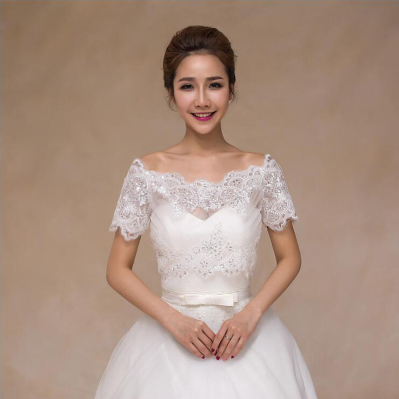 Elegant Ivory Sequins Lace Bridal Boleros  With Short Sleeve Boat Neck Wedding Jacket Capes Wedding Accessories