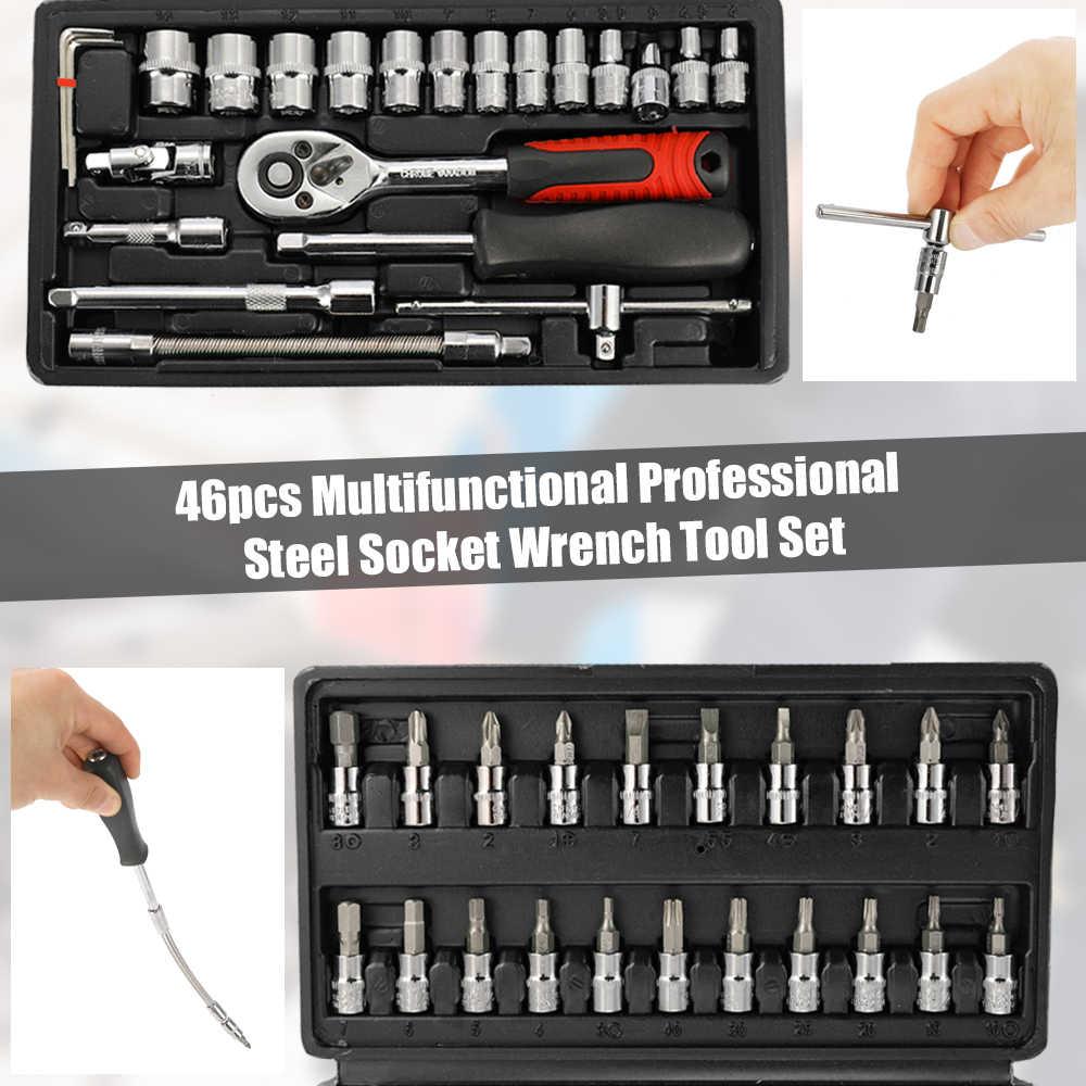 Kkmoon 46 Pcs Staal Dopsleutel Tool Set Socket Ratel Momentsleutel Set Auto Repair Tool Box Auto En Motorfiets gereedschap