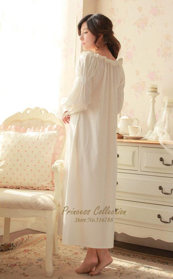 75cfd5c9200 Free Shipping 100% Cotton Princess Nightdress Long White Pijamas Women s  Nightgown Sleepwear Ladies Nightshirt negligee-in Nightgowns   Sleepshirts  from ...