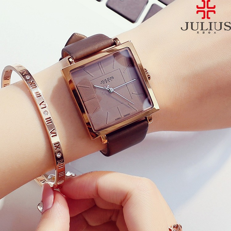 2018 JULIUS Quartz Brand Lady Watches Women Luxury Rose Gold Antique Square Leather Dress Wrist watch Relogio Feminino Montre