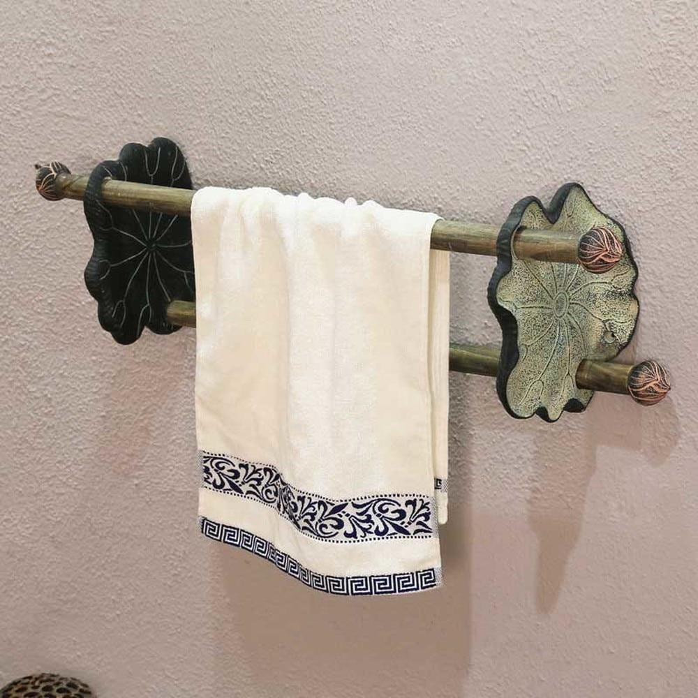 Chinese antique towel bar bathroom Toilet shower room decoration double rod towel rack creative art Shelf wx7201050 цена