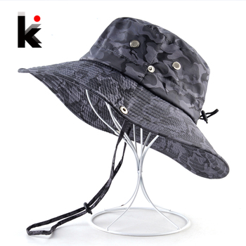 Camouflage Sun Hats For Men Summer Wide Brim Bucket Hat Women Anti-UV Beach Caps Men's Fishing Hunting Bob Cap Visor Chapeu bone 1