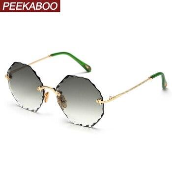 Peekaboo women ladies rimless sunglasses polygonal summer style round octagonal sun glasses green brown pink metal