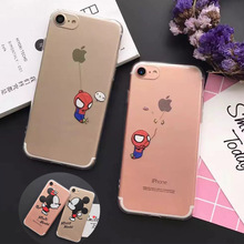 7 4.7″ Cute Funny Super Spiderman Mickey Minnie Mouse Crystal Clear Transparent Cases Cover for iPhone 7 Phone Bags Accessories