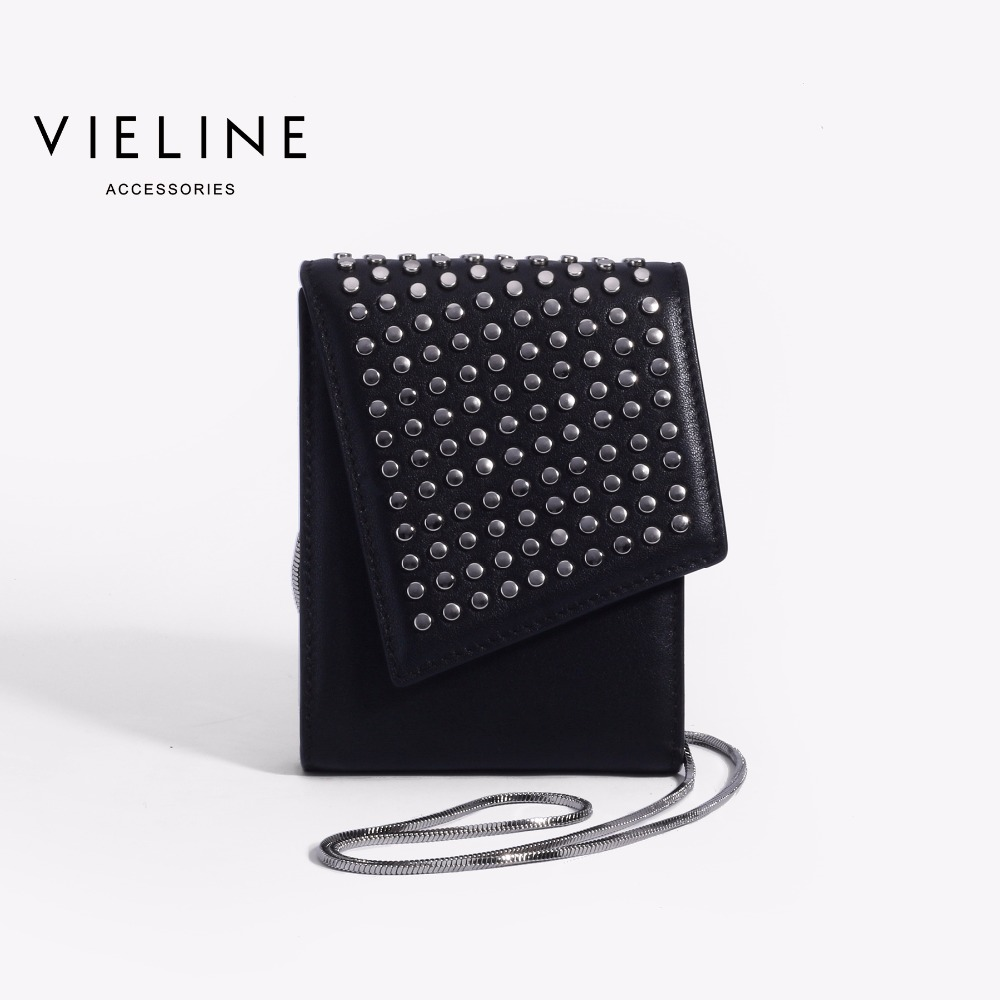 Vieline , women genuine leather Chains shoulder bag ,Designer Brand lady real leather Rivet crossbody bag,Square Flap saddle bagVieline , women genuine leather Chains shoulder bag ,Designer Brand lady real leather Rivet crossbody bag,Square Flap saddle bag