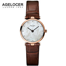 AGELOCER watch ladies clock costume watches AGELOCER model ladies's Casual Leather quartz-watch Analog ladies's wrist watch items