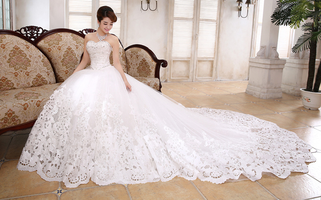 robe de mariage latest design ball gown train wedding dresses bridal sweetheart fashionable wedding gown 2015 - La Roub De Mariage