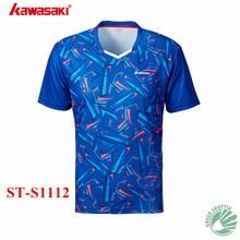 Kawasaki Для мужчин и женская рубашка легкий дышащий материал кофта для бадминтона спортивная одежда с Рубашка с короткими рукавами ST-S1112