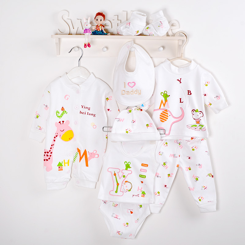 (8pcs/set)Fashion Newborn Baby 0-6M Clothing Set Brand Infant Boy/Girl Clothes 100% Cotton Cartoon Underwear baby bib hat