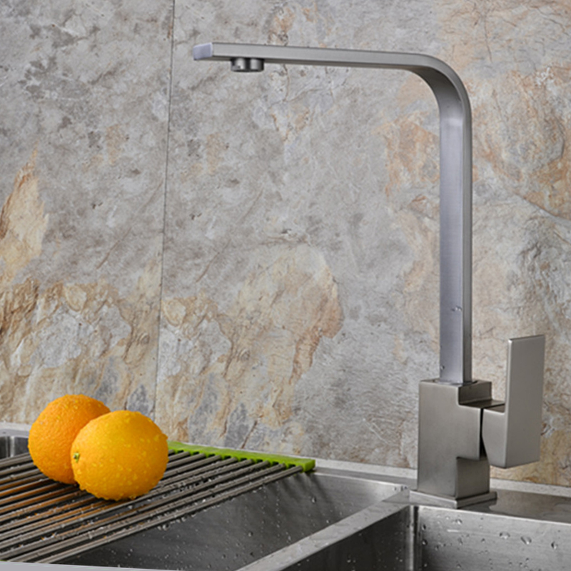 Nolimas Kitchen Faucets Hot And Cold Water Mixer Tap Brass Nickle Brushed Finish 360 Degree Rotation Single Handle Mixer Tap gizero free shipping orange spring kitchen faucet brushed nickle finish single handle hot cold water crane mixing tap gi2069