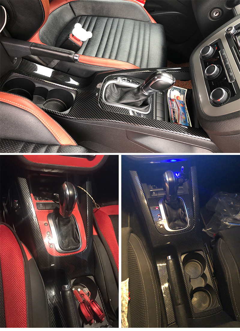 1 шт. карбоновое волокно ABS материал панель передач и питьевой стекло украшение крышка для 2006 2016 Volkswagen VW JETTA GOLG5 MK5 ESO - 6
