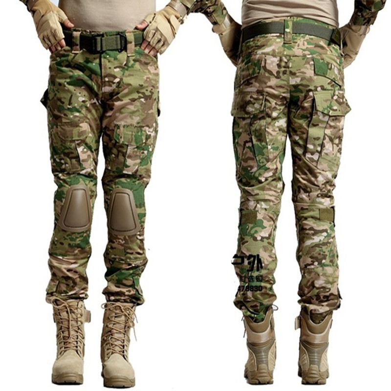 Tactical Airsoft Paintball Combat Pants with knee pads Soldier Trainer Outdoor Sport Survival Field game Trouser Free shipping