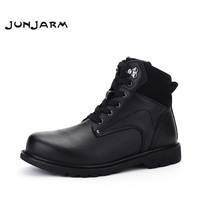 JUNJARM Big Size Men Leather Boots Winter Warm Men Motorcycle Boots 100 Real Leather Men Ankle