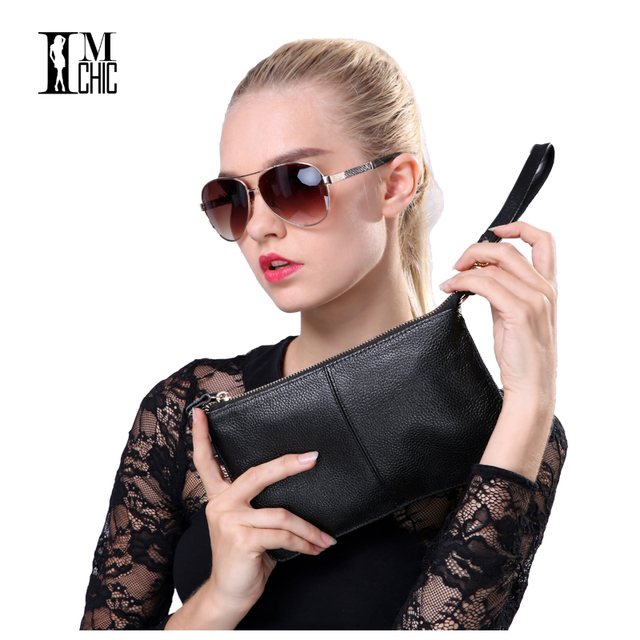 Soft Genuine Leather Women Clutch Bags Chain Shoulder Bag Real Cowhide Purse Organizer Evening Party Handbags Classic Girl Gift