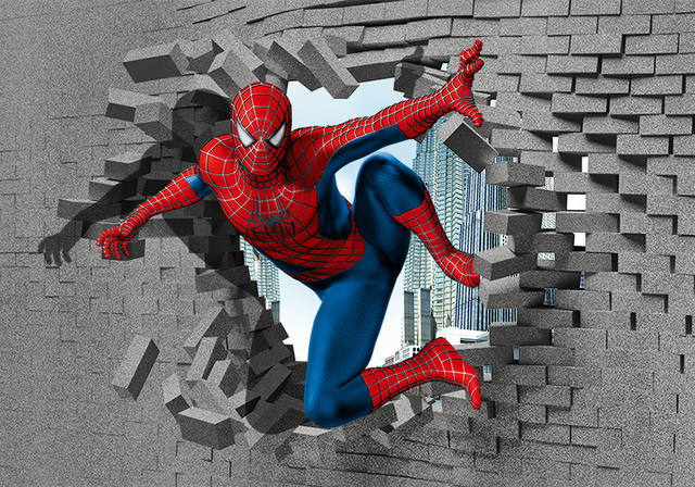amazing spiderman 3d street painting bare 3d films ad wall stickers