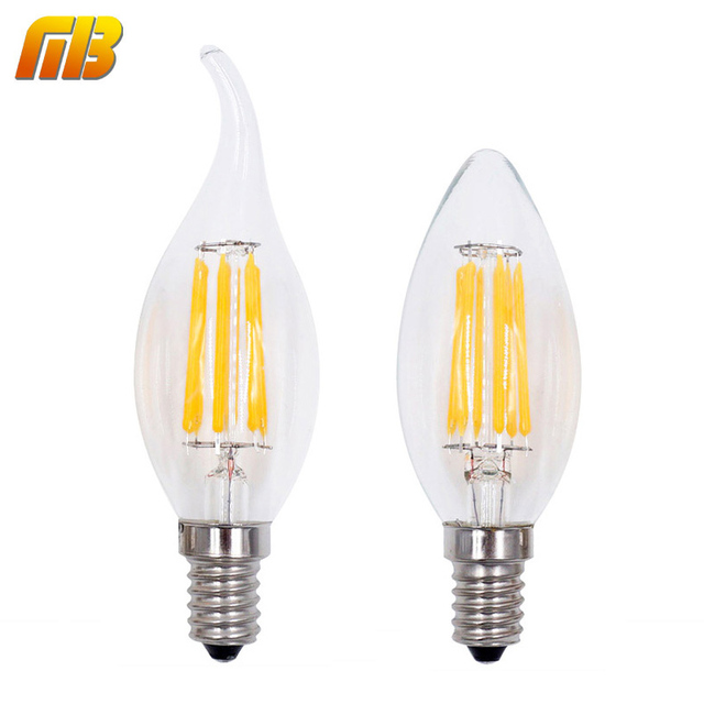 LED Filament Candle Light Bulb E14 220V 2W 4W 6W C35 Edison Bulb Retro  Antique Vintage