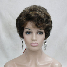 charming Brown mix with Strawberry Blonde short curly woman's synthetic full wig