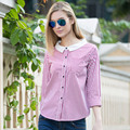 Veri Gude Vertical Striped Blouse Women's Wide Neckband Long Sleeve Shirt Free Shipping