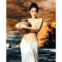 Numaralarına göre DIY Yağlıboya Çerçevesiz Boya Odası Duvar Sanatı Ev Dekor Için Tuval Duvar Resimlerin Üzerine çömlekçilik kız