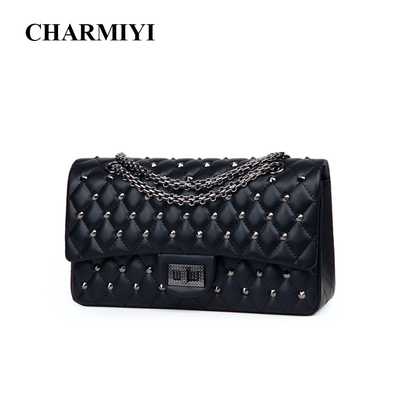 CHARMIYI Luxury Brand Chain Handbags High Quality Leather Black Women Shoulder Bags Vintage Fashion Rivet Women Messenger Bag tcttt luxury handbags women bags designer fashion women s leather shoulder bag high quality rivet brand crossbody messenger bag