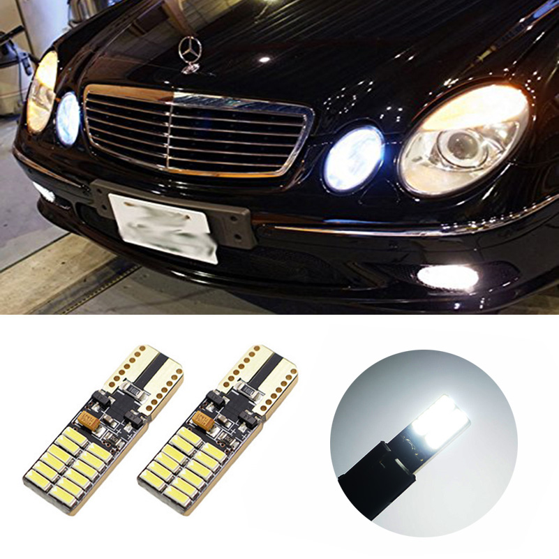 2x T10 W5W LED Car Canbus parking Light clearance bulbs for Mercedes Benz w211 w203 w204 c200 w210 w124 w202 cla w212 w220 w205 deechooll 2pcs wedge light for mazda 2 3 5 6 mx5 rx8 cx7 626 gf gg ge gw canbus t10 57smd 6w led clearance xenon lighting bulbs