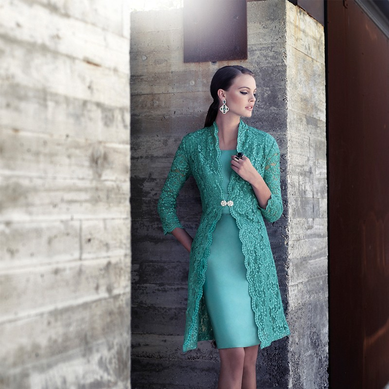 Custom-made-green-short-mother-of-the-bride-dresses-with-lace-jacket-Knee-Length-dresses-mother