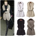 2016 Women Slim Winter Wool Vest Hooded Vests Coat Warm Sleeveless Wool Jacket Waistcoat Female Outwear Coat Free Size