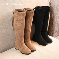 Tassels suede for girls spring and autumn 2018 new tall princess single boots British style children's fashionable high boots Girl's Shoes