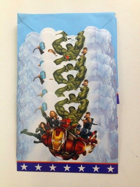 12pc Lot Superhero Party Supplies Invitation Card Children Birthday Kids Favors