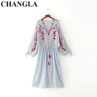 CHANGLA Women Summer V Neck Floral Embroidery Striped Dress Tassel Drawstring Tie Pleated Ladies Casual Brand