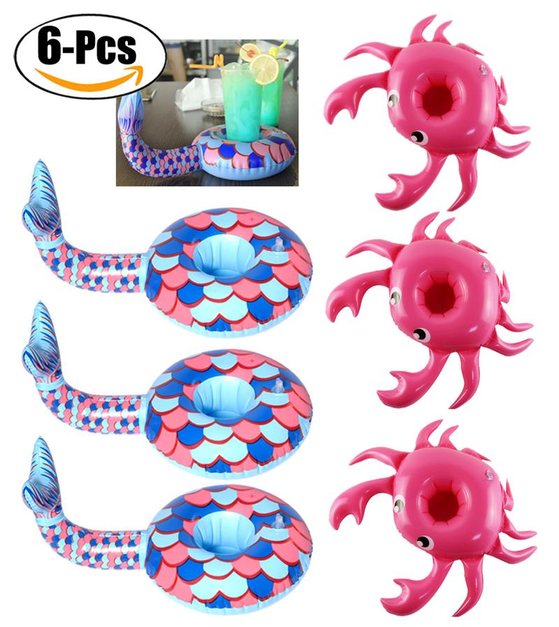 6PCS Party Drink Holder Inflatable Cute Pattern Pool Cup Holder Pool Coaster Pool Party Supplies