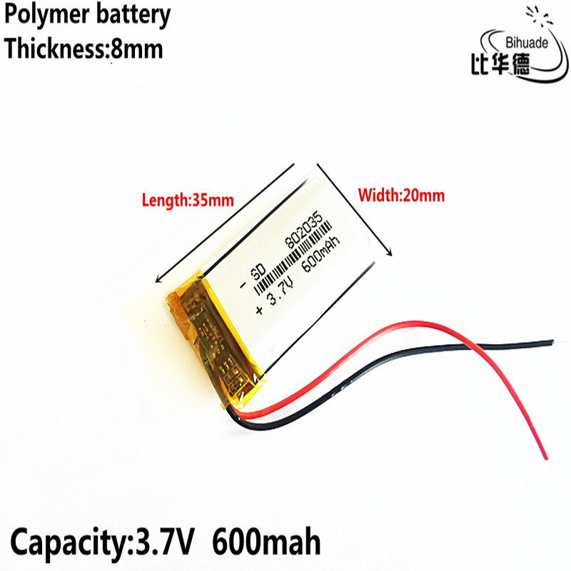 Good Qulity 3.7V,600mAH 802035 Polymer Lithium Ion / Li-ion Battery For Tablet Pc BANK,GPS,mp3,mp4