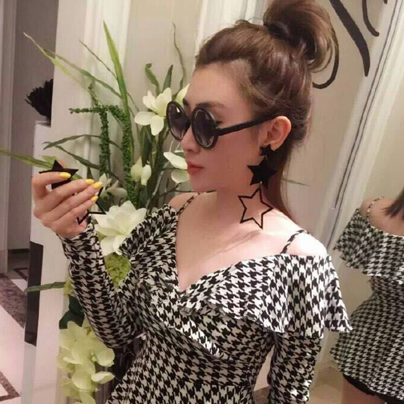 Thailand fashionable hollow out a five-pointed Star Drop Earrings Street style nightclub Hyperbole Long Earrings Jewelry E18037