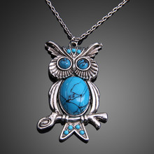 Blue Moissanite Studded Owl Necklace Long Pendant Natural Stone Necklaces Sweater Necklace Jewelry for Women(China)