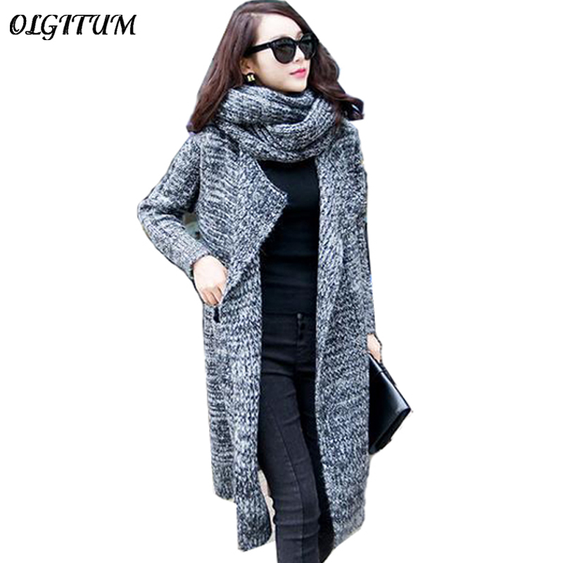 Hot Sale! 2019 Women Casual Knitted Oversized Sweaters Warm Outwear Scarf Collar  Long Cardigans Autumn Winter Thicken Coat