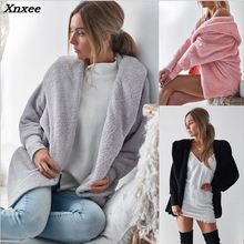 Xnxee 2018 Faux Fur Coat Women Fluffy Warm Outwear Plush Hooded Hairy Winter Loose Cardigan Trench Pure Color
