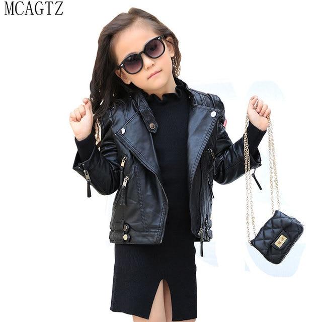 5fb5213738a7 MCAGTZ New Spring Brand Girls Leather Jacket Fashion Kids Faux ...
