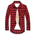 Rojo Y Negro Plaid Camisa de Los Hombres Camisas 2016 Nuevo Verano Spring Fashion Camisa Chemise Homme Para Hombre Camisas de Vestir de Manga Larga hombres
