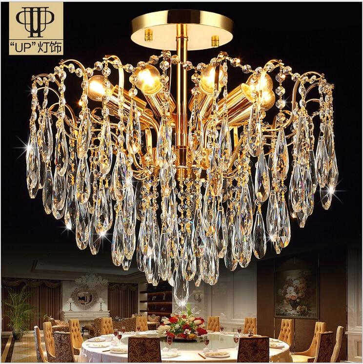 Free Shipping AC100-240V Romantic modern minimalist living room bedroom chandelier K9 Golden Crystal Penadnt Lamp Ceiling Lamp