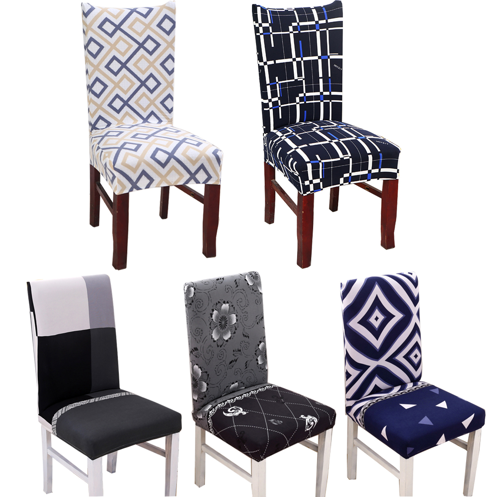 Spandex Elastic Geometric Chair Covers Backrest Pattern