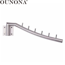 OUNONA Wall Mounted Clothes Hanger Rack Folding Clothes Hook Stainless Steel Organizer with Swing Arm Holder