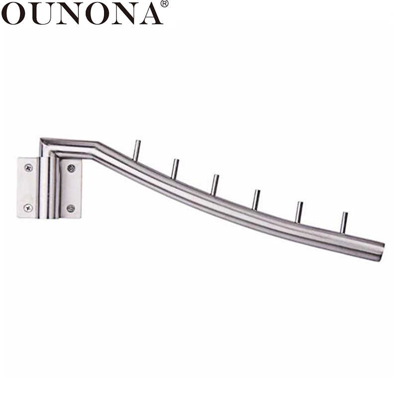OUNONA Wall Mounted Clothes Hanger Rack Folding Coat Hook Bathroom Stainless Steel Towel Hanger Hooks With Swing Arm Holder