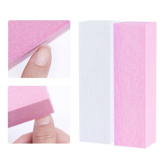 1/2/5/10 pc Pink Form Nail Buffers File For UV Gel White Nail File Buffer Block Polish Manicure Pedicure Sanding Nail Art Tool 1